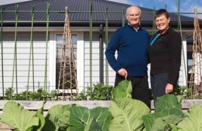 Garden of Love: Brain and Helen Coker enjoying their 2015 Gardena Garden of the Year in West Melton.