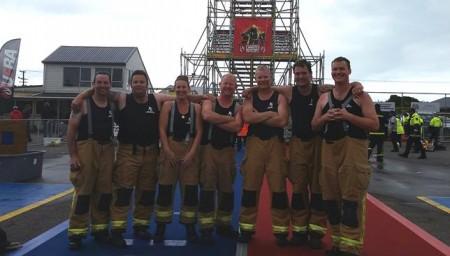 Rolleston Volunteer Fire Brigade Combat Team. L-R: Pete Savage, Rick Coburn, Sarah Lilley,  Bruce Moffat, Carl Dierck, Callen Saunders, Rob Eggers.