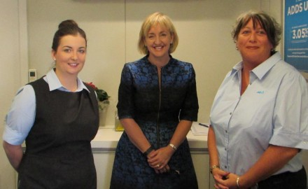 Selwyn MP Amy Adams (centre) with ANZ personal bankers, Jasmine Katae (left) and Fleur Green (right).