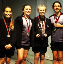 The Clearview Trampolining Team.  L-R: Sophie Parker, Sarah Faulkner, Willow Mountford, Emma Jackson.