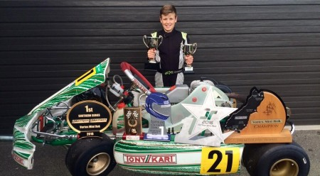 Zac Christensen with his trophies won at the South Island Championships.