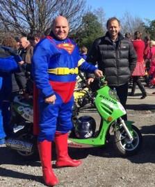 'Superhero' Wayne May with support crew Hamish Reid.