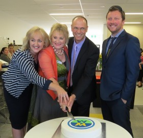 Hon Amy Adams with West Melton School principal Susan Jackson, BOT Chairperson Corey Woodward and Selwyn Mayor Sam Broughton at the official opening of the school's learning hub.