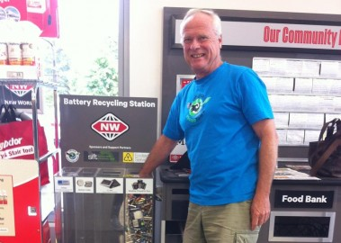 Dave Fitzjohn project manager for Lincoln  Envirotown collects the first load of batteries to be recycled.