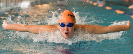 16 year old Hannah Bates of the Selwyn Swim Club in action.