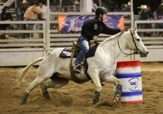 Georgie Sarginson competing in the Barrel Race at the Trans Tasman High School Rodeo Challenge in Australia.