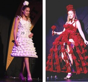 Left: Antoinette Hemstra from Lincoln - Supreme Student Winner with Polystyrene Cup Dress.  Right: Joanne Smith - Supreme Adult Winner with Coming up Roses.