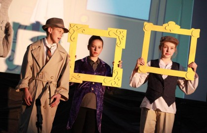 L to R: Detective Jack Spratt (Matthew Quinn), Peter Piper (MacKenzie Wills) and Tom Tom the Piper's Son (Micaiah Pitkethley).
