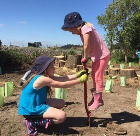 Co-operation is the key as Beata (left) and Ruby  work together to get planting underway.