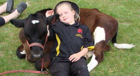Trinity Wright (Year1) from Hororata Primary School, is worn out after a busy morning at  pet day.