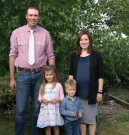 This year's Courtenay A & P Show President Ashley Seaton with his family - Georgia, Fergus and Anna Seaton.