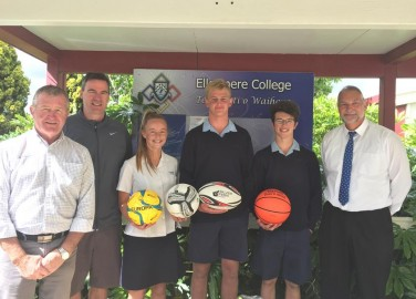 Rod Frewen (Southfuels Account Manager), with Elllesmere College's Chris O'Connell (Head of Sport), Emily Carter, Sam Scott, Lennox Dunn and Bert Knops (Assistant Principal).