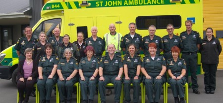 The paramedics who volunteer their time for St John Malvern. Back L to R: Ross Meder, Mel Thompson, Ian Rex (Territory Manager), Lisa Redmond, Lynda Walter, Peter Cattell, Nic Menary, Joost Kepers, Alex Paterson, Michael Judd, Charles Ellis, Katie Tozer. Front L to R: Janet Taege, Rachel Redmond, Anne Wilson, Jill Hill, Brian Westwood, Candace McGirr, Michelle Kittelty, Jude Westwood.  Absent: Jane Potts, Matt Forrester, Helen Trushin.