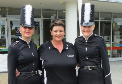 After taking out three team awards. L to R: Kate Sutton (leader), Tracy Webley (coach), and Renee Rae (leader).
