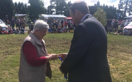 Margaret Holiday received a Royal Agricultural Society medal for her dedication and commitment to the Malvern A & P Show for many years both exhibiting and as a Convenor from  2018 Show President Guy Bassett. Photo: Jenny Bassett