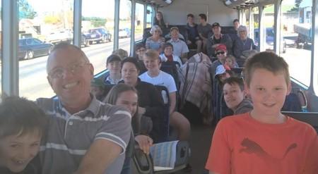 Another full bus leaving Leeston.