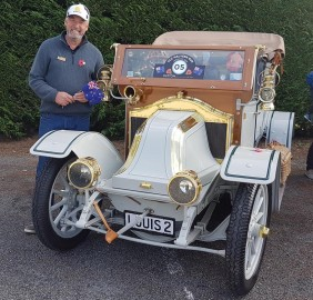 Event organiser Malcolm McGibbon with his 1914 Renault AG.