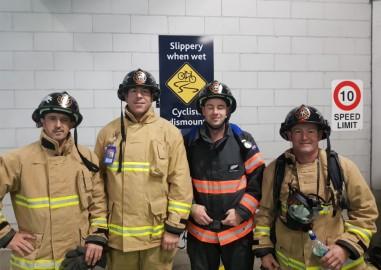 Garry Robinson, Blair Jones, Dale Evans and Stu Begg - members of the Kirwee Fire Brigade's stair climb team.