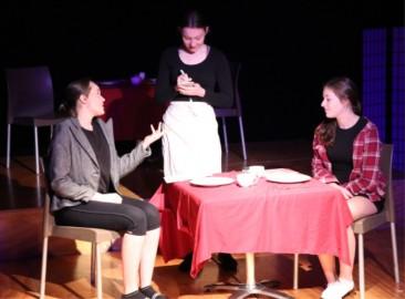 Jodie Rollings, Viktoria Derik-Westaway and Aeryn McMillan-Da Via showing their fabulous acting skills during 'Check Please'.
