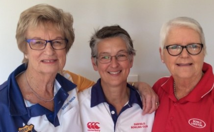 L to R: Barbara Herrick (West Melton), Hazel Littlejohn (Darfield) and Margaret Bailey (Leeston) Selwyn bowlers representing New Zealand.