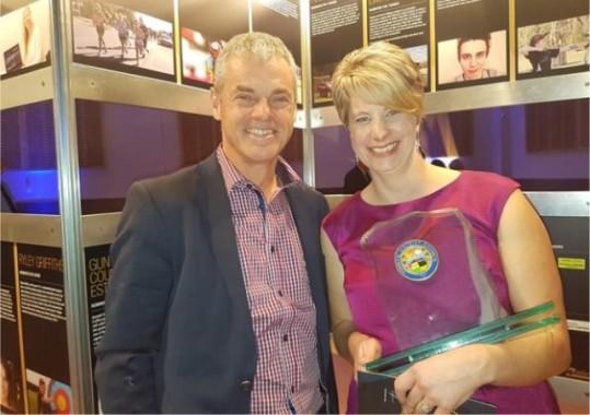 Michael Oakley of Ballooning Canterbury (Hororata Night Glow) and  Cindy Driscoll (Hororata Community Trust) .