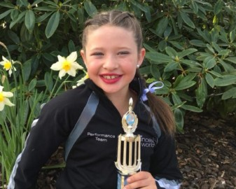 Brianna Riddle winner of the Novice Jazz 8 and Under competition and Open Jazz Duo Under 12 with her dance partner Rubie Leech.