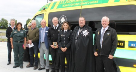 L to R: Peter Morrison, Chairman of Westland Milk Products; St John personnel;  Leigh King, Gavin King (Malvern Lions); Bill Pickering Project Chairman; Keith Taege, Malvern Lions' President; St John personnel, John Sunckell, Commander of the Order of St John,  Chairman of Selwyn Central Area; Phil Lynch, Malvern Lions.