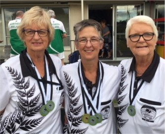 L-R Barbara Herrick (West Melton), Hazel Littlejohn (Darfield) and Margaret Bailey (Leeston) who represented New Zealand at the recent International Deaf Bowls Championship held at Burnside Bowls Club. All three ladies proudly wearing medals they won.