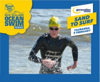 Ben Smith finishing the New Zealand Secondary Schools Open Water Championships at Mount Maunganui Beach.