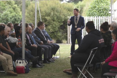 Selwyn mayor Sam Broughton speaking on the Marae during the citizenship ceremony at Ngāti Moki Marae, Taumutu.