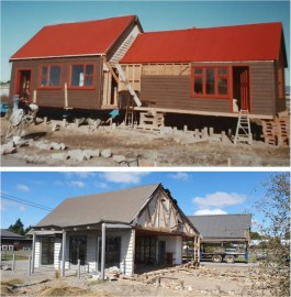 Above: Mid 1986 the building is onsite and getting readied for occupation. Below: End of an era - going, going, gone - the 34 year tenure of the Gnomes building has ended and the building has been removed!