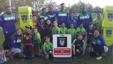 Some very happy children and parents with a few of the Vodafone Warriors.