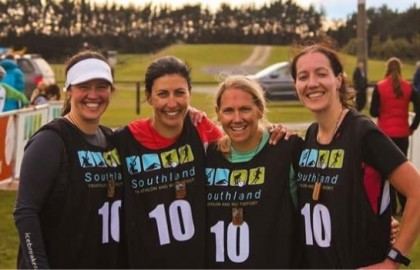 Team Raynauds: (L-R) Emma Wilson, Jayde Mayberry, Amy McClintock and Amy Winter who were placed first female team in the 6+6 Adventure Race competition which was held in Southland.